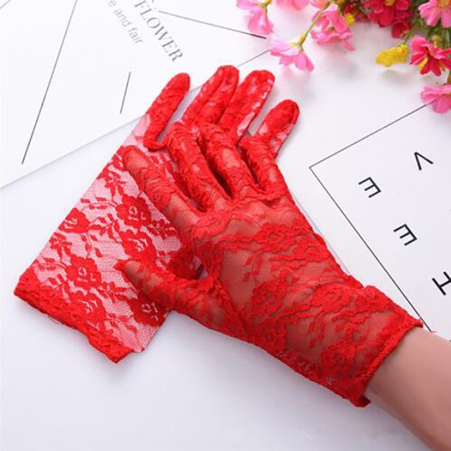 1Pairs New Party Sexy Dress Gloves Women Lady Lace Mittens Accessories Sunscreen Summer Full Finger Girls Lace Fashion Gloves 5