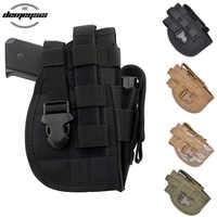 Universal Tactical Gun Holster Right Hand Molle Pistol Holster Combat Airsoft Waist Belt Holster Black tan green multicam