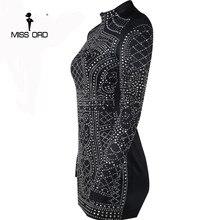 2018 Sexy Geometric retro Rhinestone high-necked long-sleeved bodycon  tight dress party dress FT2838