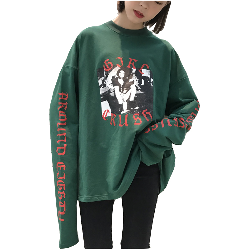 2018 Spring Autumn New Fashion Women's Clothing O-Neck Long Sleeve T-Shirt Loose Cartoon Image Female Casual Top Tshirt YZH429