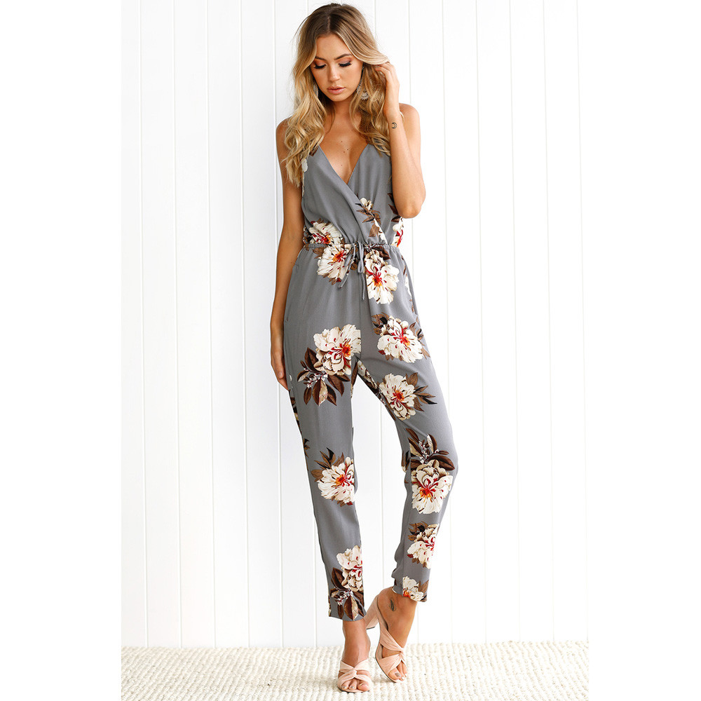Free Ostrich sexy   jumpsuit   summer rompers womens   jumpsuit   Women Leaves Sleeveless Floral Printed Playsuit Party Trousers D0635