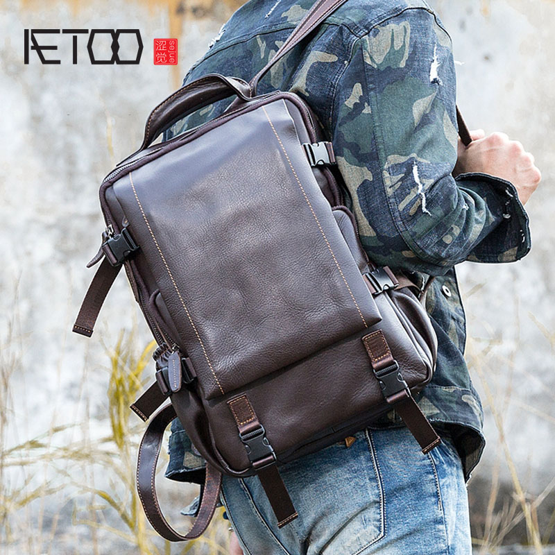 AETOO Oil wax leather backpack men's first layer cowhide large capacity computer bag leisure travel bag original leather men's алексей номейн вконтакте продвижение группы