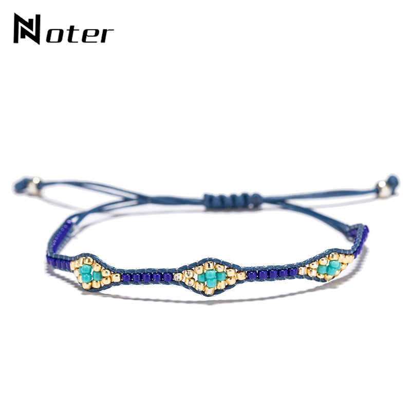 Noter Hand Braided Lace Up Evil Eyes Bracelet 4 Color Small Acrylic Beads Ethnic String Braslet For Women Girls Hand Jewelry