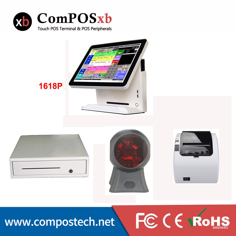Whole Set Windows Pos Machine 15'' Touch Screen All In One POS System/Cash Register/Cashier POS With VFD/1D omni barcode scanner truth flat all in one 15 touch pos terminal machine ssd 4gb ssd 64gb j1900 quad core fanless pos with cash drawer