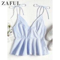 ZAFUL T Shirts Women Cute Contrast Panel Peplum Cami Top Sexy Spaghetti Strap Shirts V Neck Sleevess Women's Tees Summer
