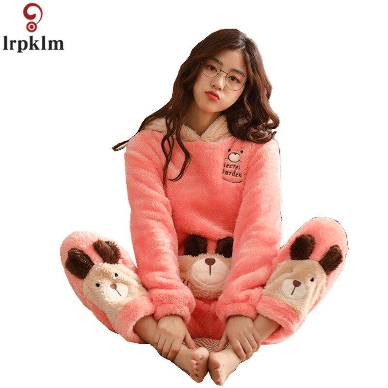Зимние Для женщин пижамы толстые теплые фланелевые костюмы из двух частей  ночь носить одежду мультфильм пижамы 4cf6d295a3c5f
