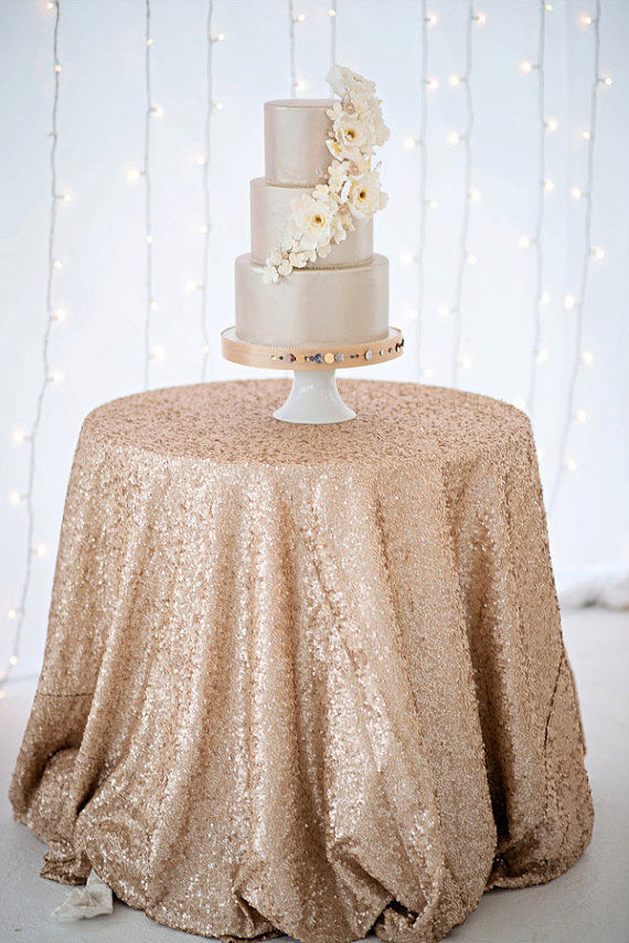 60 Inch Round Champagne Sequin TableCloth Wedding Beautiful Champagne  Sequin Table Cloth / Overlay /Cover