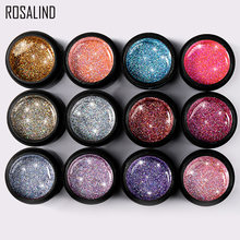 ROSALIND 5ml Shiny Rainbow Gel Nail Polish Bright For Glitter Painting Nail Art Design Poly UV Top Base Primer For Manicure(China)