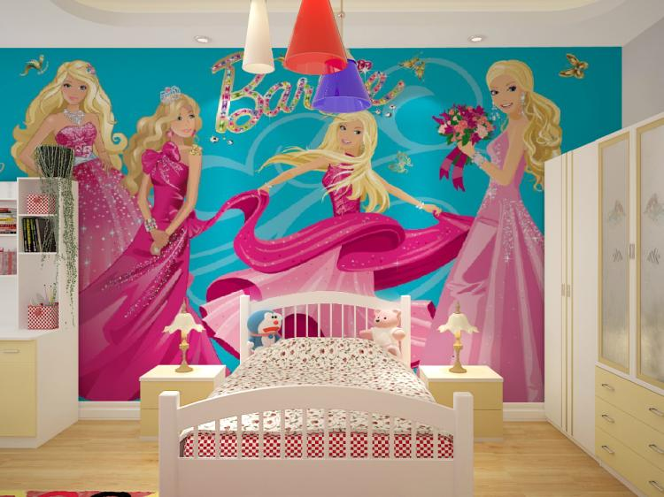 Wholesale 3d mural wallpaper with cartoon barbie girls for for Barbie wall mural