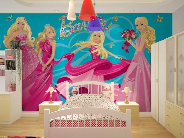 Wholesale 3d Mural Wallpaper With Cartoon Barbie Girls For
