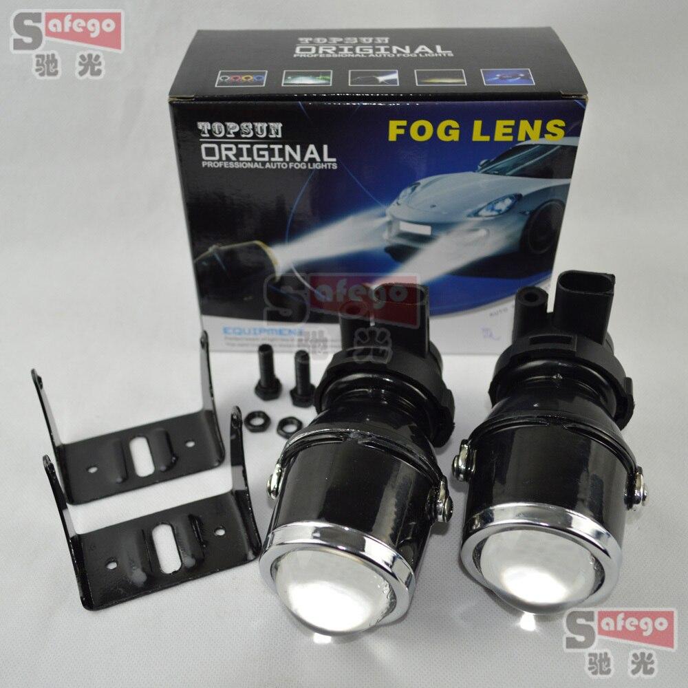 ФОТО 1pair 35W fog lamp bulbs car fog light Projector Lens xenon H3 fog lights for Car auto Headlight xenon hid projector lens kit