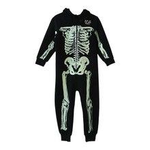 Осенне-зимний комбинезон с изображением скелета; комбинезон; детская пижама; Пижама детская пижама; костюмы на Рождество и Хэллоуин
