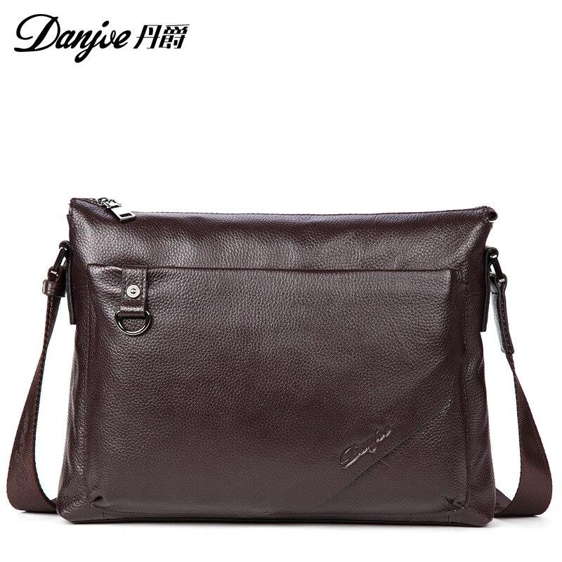 DANJUE Genuine Leather Briefcase Men Business Handbag Black Man Laptop Totes Male Large Capacity Brand Shoulder Bag