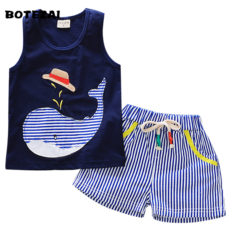 Hot Sale New Summer Toddler Boy Clothing Sets Cartoon Vest Shorts 2 Pcs Kid Suits Children