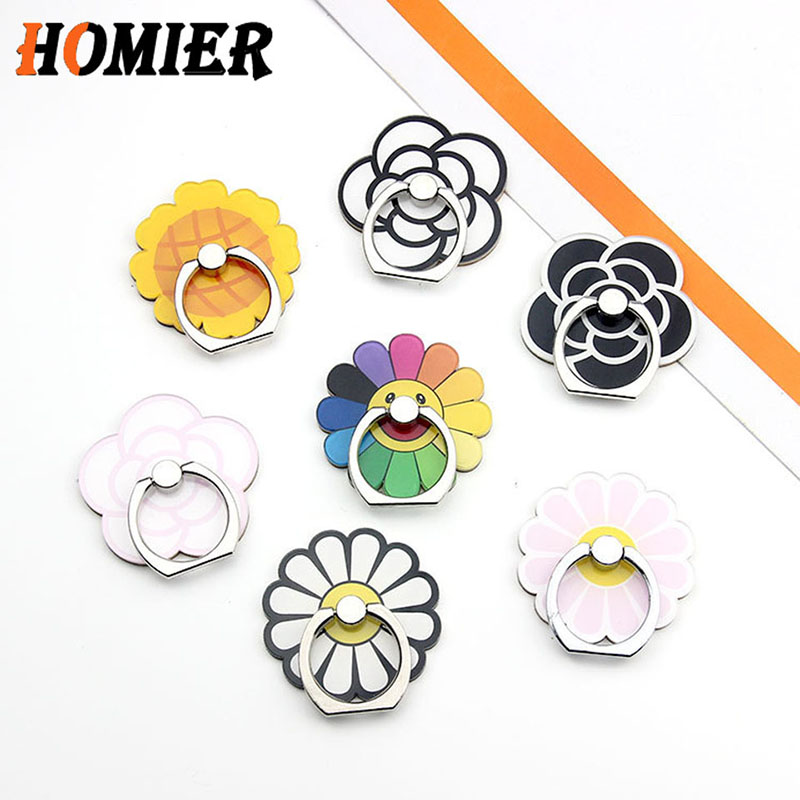 Universal Cell Phone Stand Bracket Metal Flower Phone Holder Finger Cute Cartoon Stand For Iphone 5s SE 6s 7 8 Plus X XS MAX XR