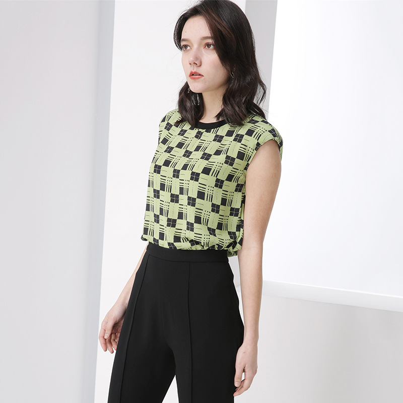 T-shirt en soie lourde été imprimé à carreaux fruits vert haut pour femme décontracté lâche pull harajuku Tee esthétique poleras mujer koszulki