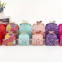 Candy Box Hollow 100Pcs Paper Butterfly European Style Gift Boxes Wedding Favors Cute Personality Chocolate Box