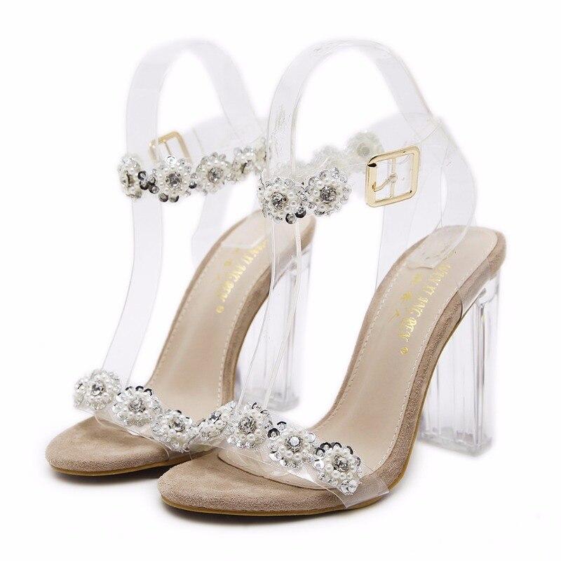 f948d1e26 Grueso Cristal Estilo Imitación Plata Transparencias Con Alto Zapatos  Sandalias Diamantes Tacón Hebilla Nuevo oro De ...