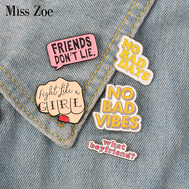 US $0 59 30% OFF|Quote Enamel Pin Feminist Girl power STRANGER THINGS NO  BAD VIBES badge brooch Lapel pin Jeans shirt bag Cartoon Jewelry Gift-in