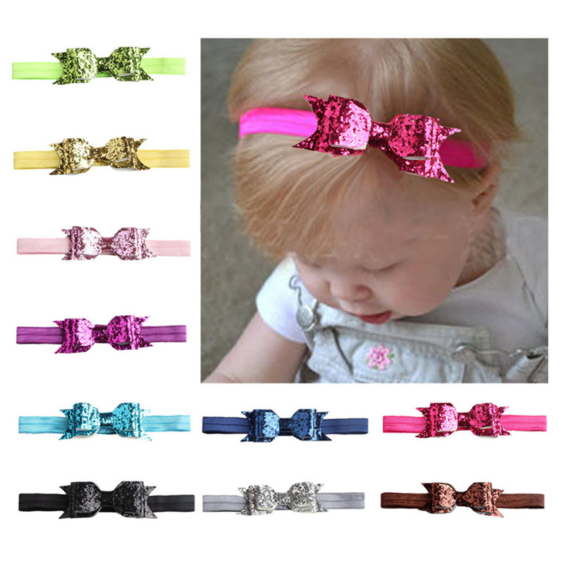 Fashion 1PCS Lovely Kids Headband Cute Children Sequined Bow Knot For Pretty Girls Hot Sale Shiny Hair Band Hair Accessories