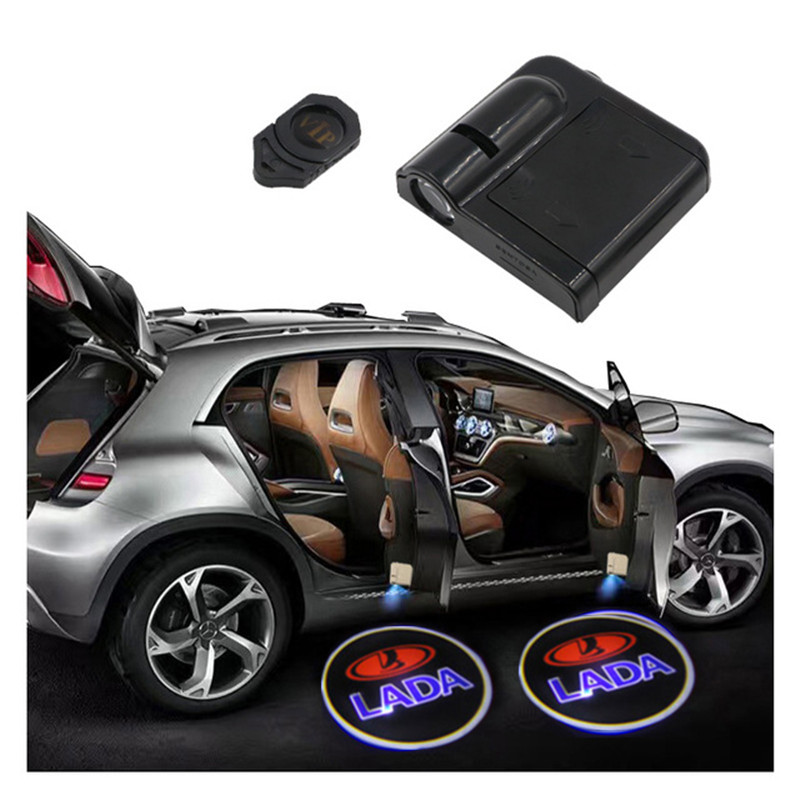 Wireless Car Door Welcome Logo Light Projector For Lada 2112 <font><b>2113</b></font> 2114 2106 Samzra Patriot Priora Kalina Largus Niva 4X4 Vesta image