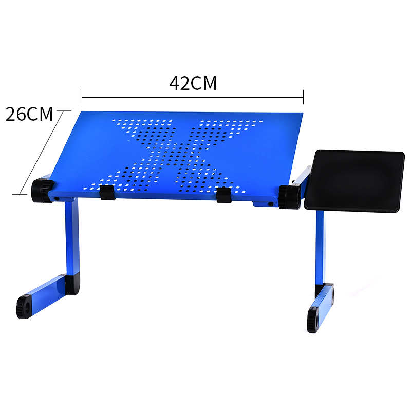 Image 3 - Portable Mobile Laptop Standing Desk For Bed Sofa Laptop Folding Table Notebook Desk With Mouse Pad & Cooling Fan For Office-in Laptop Desks from Furniture