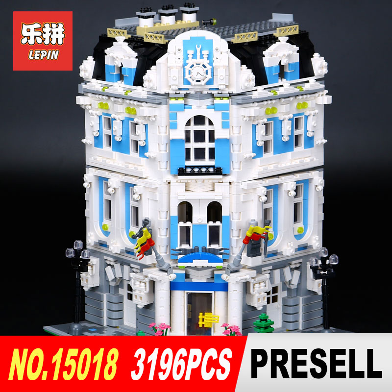 New Lepin 3196Pcs 15018 MOC City Series The Sunshine Hotel Set Building Blocks Bricks Educational Toys DIY Children Day's Gift 02020 lepin new city series the new police station set children educational model building blocks bricks diy toys kid gift 60141