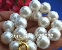 Shell moda Charming! 16mm mar Branco do sul Shell Pérola Colar AAA Barato colares de Jóias de prata para as mulheres-jóias