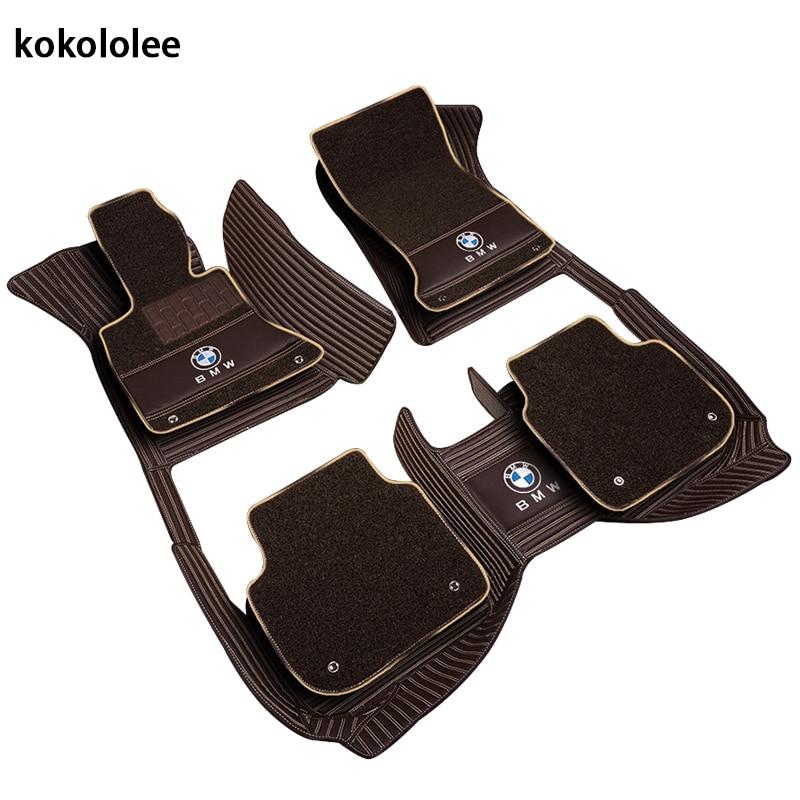 Kokololee Personnalisé plancher de la voiture tapis pour BMW e30 e34 e36 e39 e46 e60 e90 f10 f30 x1 x3 x4 x5 x6 1/2/3/4/5/6/7 accessoires car styling