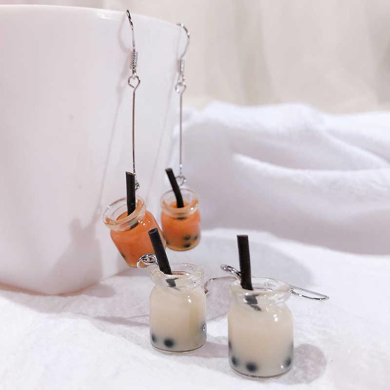 น่ารักผลไม้นมเครื่องดื่มชา Charm ขวดเรซิ่นต่างหูแฟชั่นสี Candy สีเหลืองมะนาวถ้วย Dangle ต่างหูสำหรับผู้หญิงร้อน