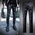 Mens gothic punk rock negro vaqueros agujeros de recubrimiento de cera retro slim fit lápiz pantalones pies pantalones