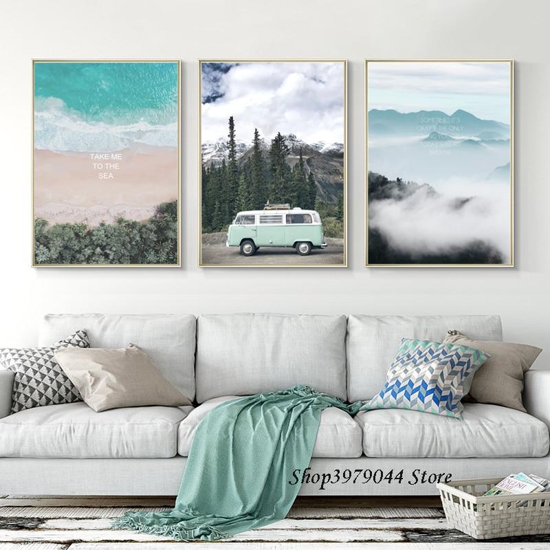 Scandinavian Travel Landscape Poster Nordic Style Wall Art Canvas Prints Picture