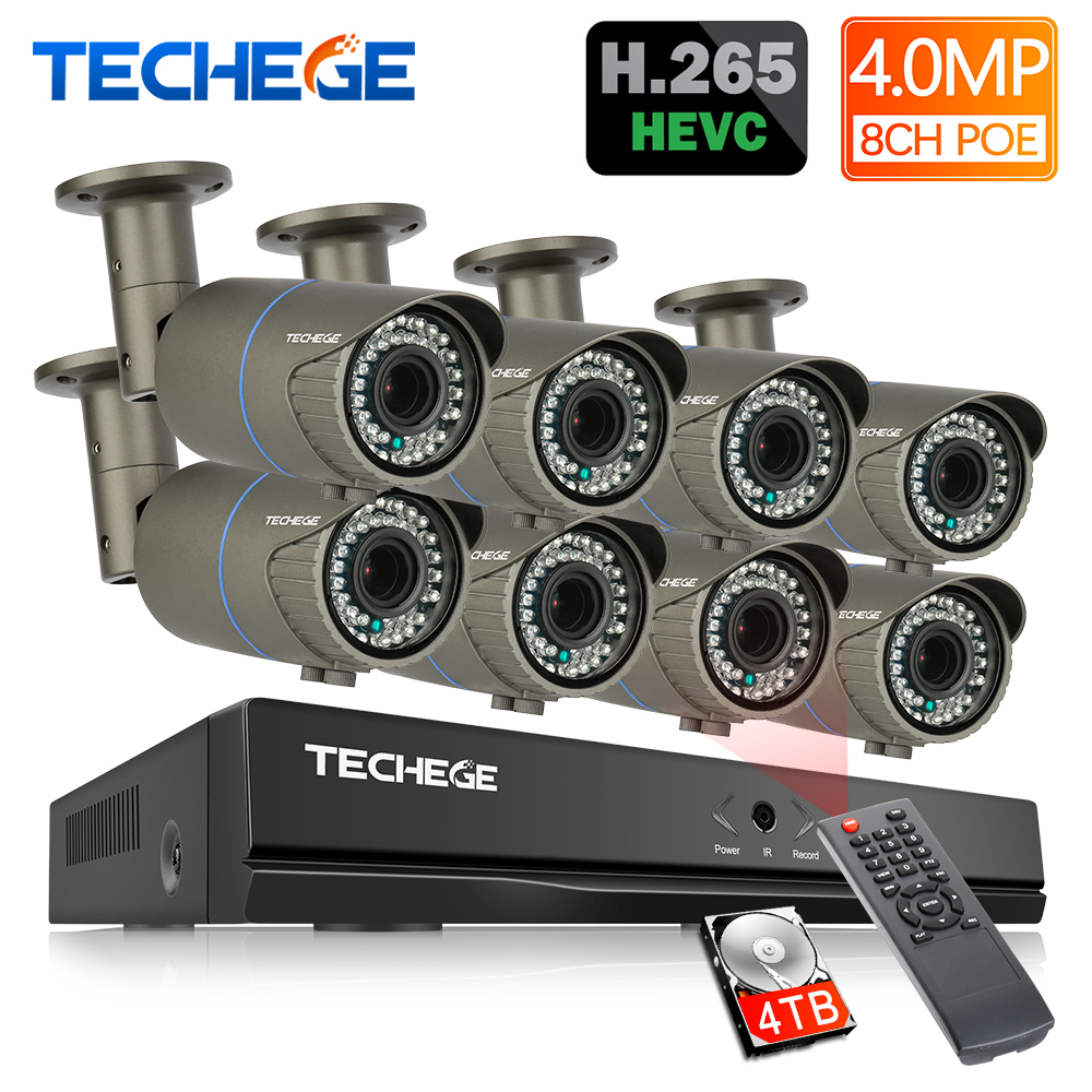 Techege H.265 8CH PoE NVR 8pcs 2.8-12mm Maunal lens 4.0MP IP Camera POE System P2P Cloud cctv System Support PC Mobile View