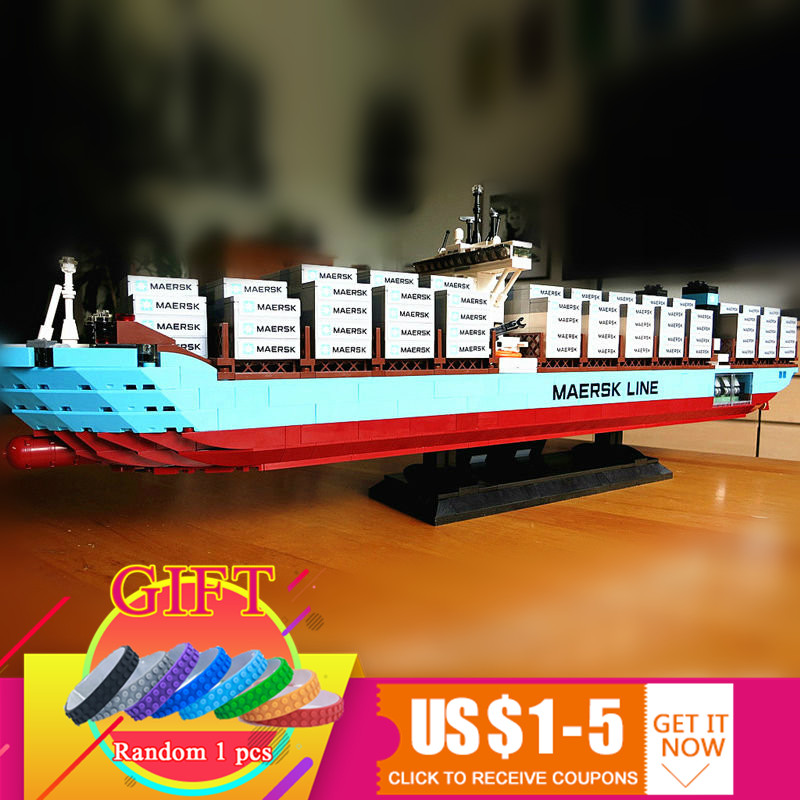 22002 1518Pcs Technical Series The Maersk Cargo Container Ship Set Compatible with 10241 Building Blocks toys lepin 22002 1518pcs the maersk cargo container ship set educational building blocks bricks model toys compatible legoed 10241