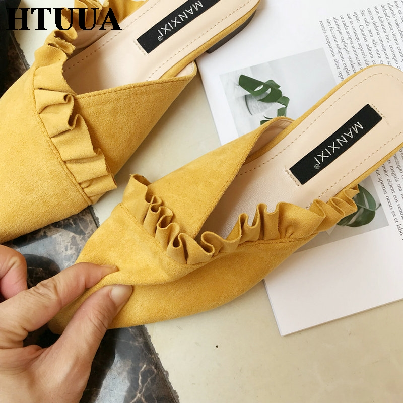 HTUUA High Quality Soft Flock Slippers Women Slip On Mules Shoes Spring Summer Autumn Ladies Shoes Flat Slides Flip Flop SX1311