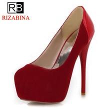 RizaBina free shipping high heel wedge shoes women sexy dress footwear fashion pumps P10800 EUR size