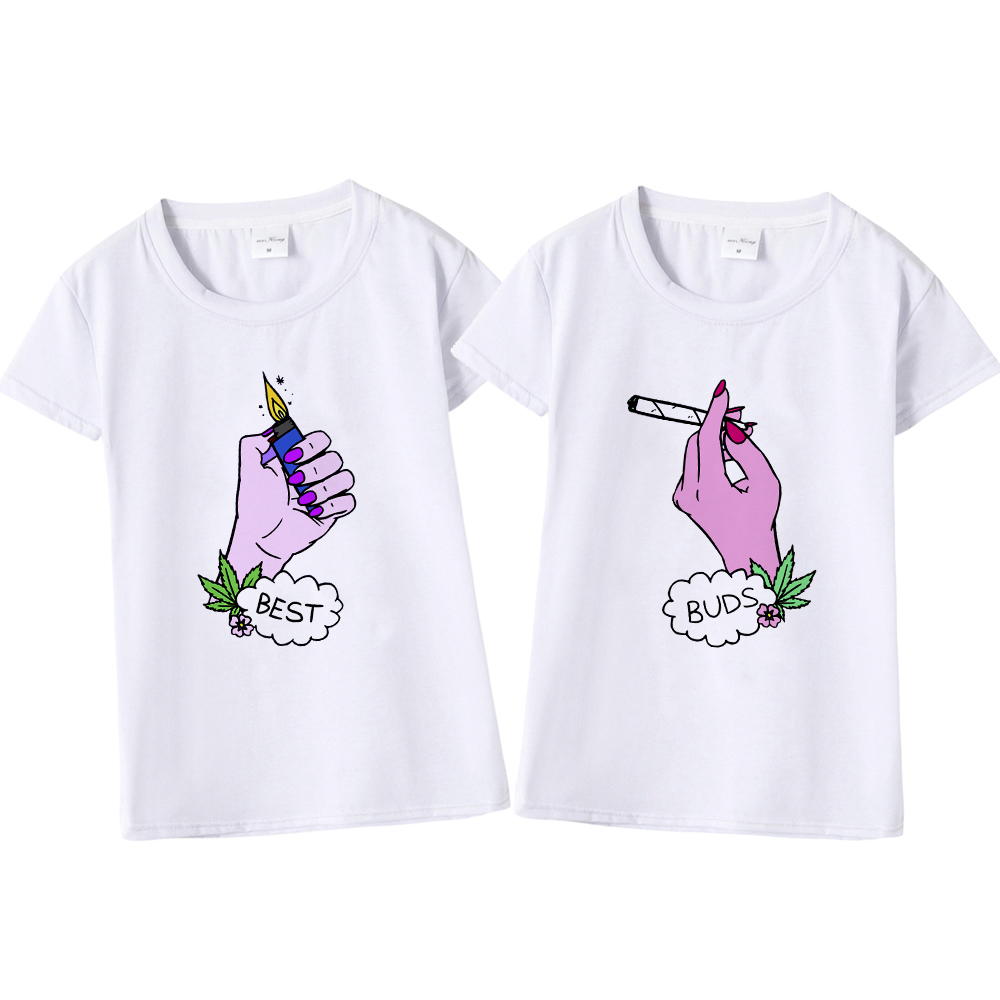2018 Funny Design Best Duds Matching T-Shirt BFF T Shirt Women Best Friend Tee Shirt for Femme Cotton Tops Smoke and Lighter photo shoot