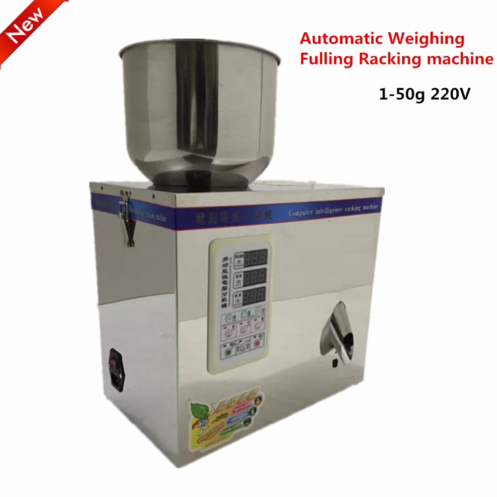 New Automatic Weighing Small Granular Racking Machine Pack Food package 1~50g 220V Fulling Racking machine Packing machine cursor positioning fully automatic weighing racking packing machine granular powder medicinal filling machine accurate 2 50g