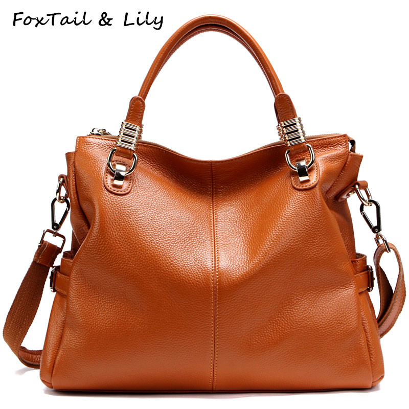 FoxTail & Lily Ladies Soft Cowhide Genuine Leather Shoulder Bag High Quality Luxury Handbags Women Bags Designer Crossbody Bags chispaulo women genuine leather handbags cowhide patent famous brands designer handbags high quality tote bag bolsa tassel c165
