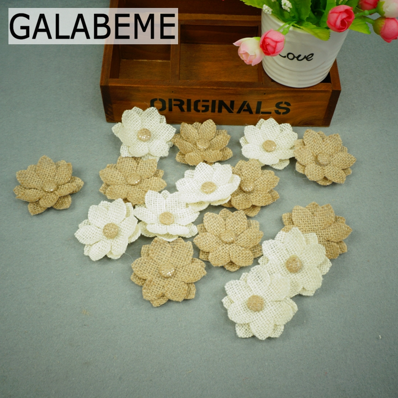 Galabeme 50pcs/lot 6cm Natural Jute Burlap Hessian Flower Handmade Vintage Wedding Chrismas Decoration DIY rustic wedding decor ...