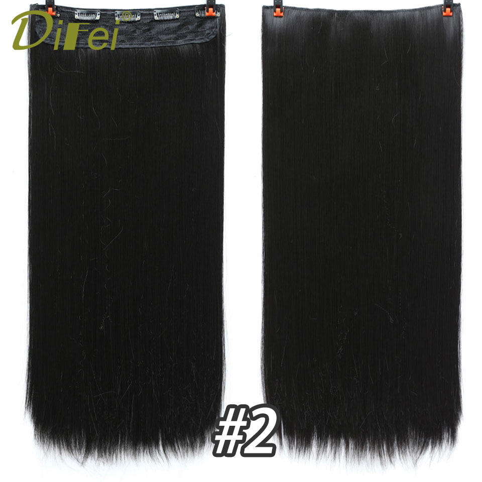 DIFEI Hiar High Tempreture Synthetic Hairpiece extension 5 length Long Straight Women Clip in Hair Extensions Black Brown
