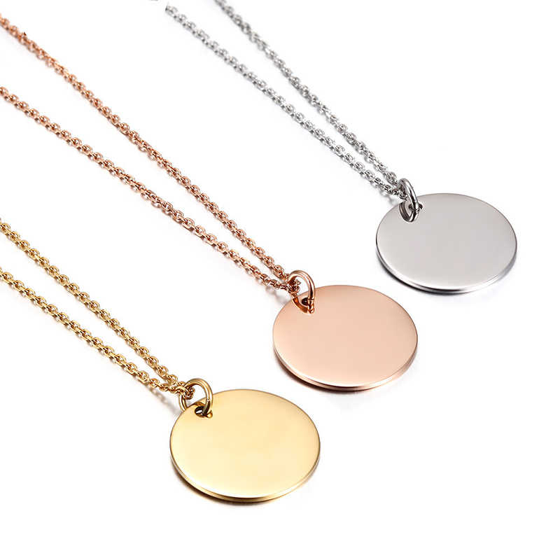 781241d0ee444c ... Tiny Coin Disc Necklace Rose Gold Karma Circle Lucky Charm Minimalist  Choker Collier For Femme Jewelry