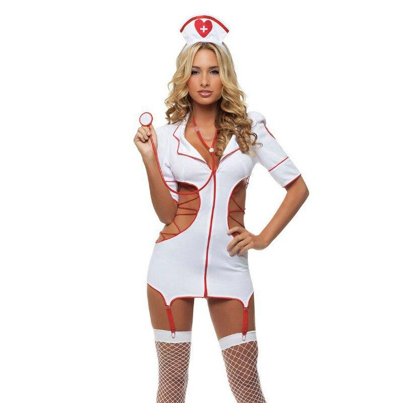 Exotic Apparel Sexy Lingerie Nurse Temptation Uniform Set Exotic Apparel Horizontal Neck Ladies Women Profession Costumes Fancy Dress Cosplay