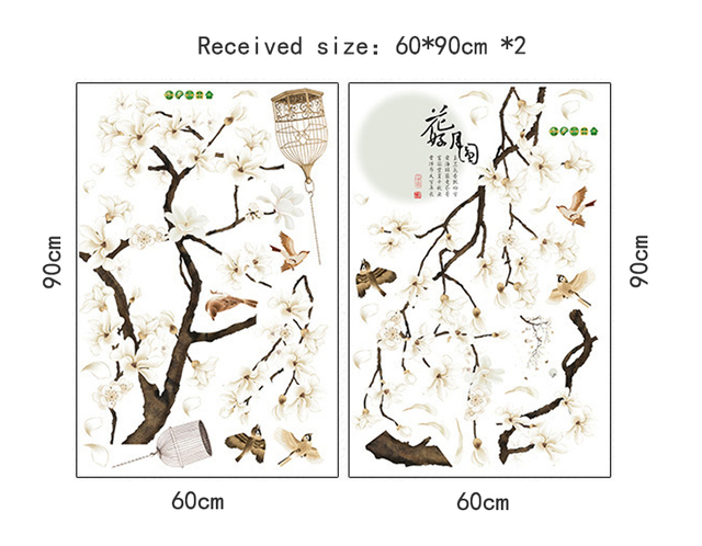 187*128cm Big Size Tree Wall Stickers Birds Flower Home Decor Wallpapers DIY Vinyl Decoration