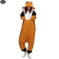 Polar Fleece Cartoon Cute Fox Animals Siamese Pyjamas Winter Adult Unisex Onesie Pajama Sets Christmas Cosplay
