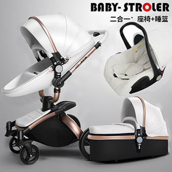 AULON 3 in 1 Baby Stroller 360 Degree Rotate Carriage Gold Frame PU Pram EU Safety Car Seat With Bassinet Newborn image