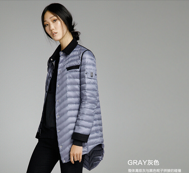 MISUN 2017 winter jacket women tailored collar asimétrico longitud luz botones bolsillos patchwork de lana delgada prendas de vestir exteriores abajo cubren