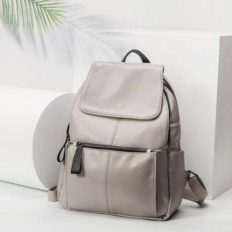 Backpack Female Genuine Cow Leather Women Knapsack Zipper Trendy Ladies Shoulder Bag Classic Women Travel Bag Daily new hot C677