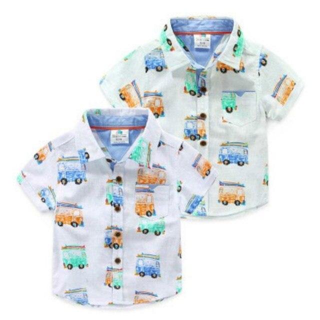 Мальчик автомобиль печати рубашка 2016 летом случайные детская одежда ребенка с коротким рукавом рубашки топы