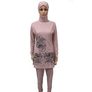 Image 3 - HAOFAN 2018 בתוספת גודל בגדי ים מוסלמיים נשים צנוע פרחוני הדפסת מלא כיסוי בגד ים אסלאמי חיג אב האיסלאם Burkinis וחוף אמבט